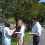 4-27-09 Cathy shows genealogy to Kathleen Jamison Uhler.